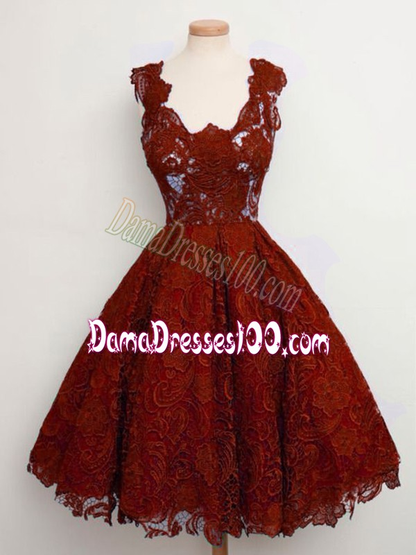New Style Sleeveless Lace Knee Length Lace Up Damas Dress in Rust Red with Lace