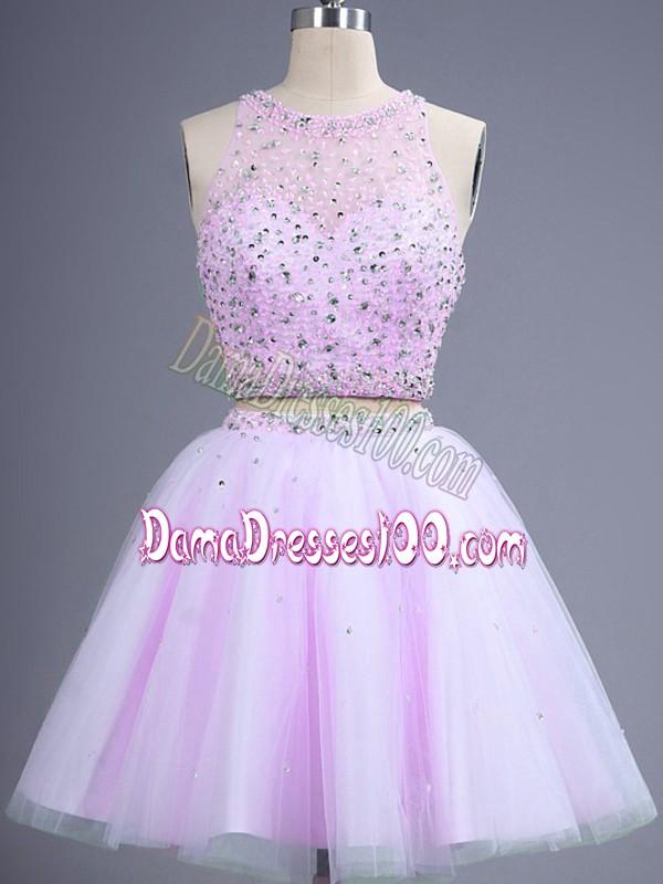 Knee Length Two Pieces Sleeveless Lilac Vestidos de Damas Lace Up