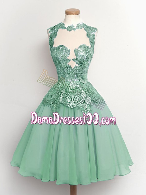 Custom Designed Light Blue High-neck Neckline Lace Dama Dress for Quinceanera Sleeveless Lace Up
