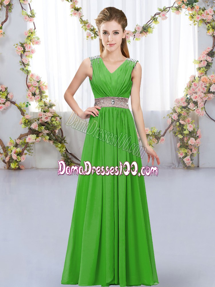 Floor Length Green Vestidos de Damas V-neck Sleeveless Lace Up