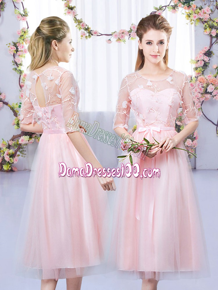 Baby Pink Half Sleeves Lace and Belt Tea Length Quinceanera Court Dresses