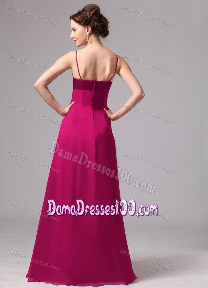 Wine Red Spaghetti Straps Quince Dama Dresses with Cool Back
