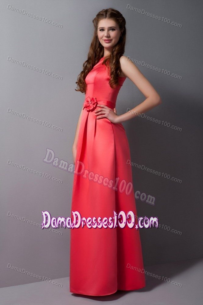 Rust Red Column High Neck Party Dama Dresses with Waist Accented