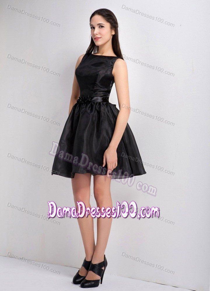 line Bateau Mini-length Little Black Dama Dress For Quinceaneras