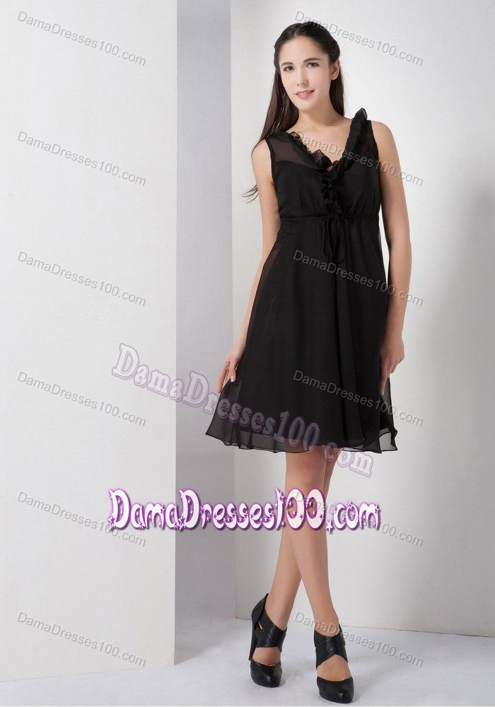 Black dress knee length quinceanera