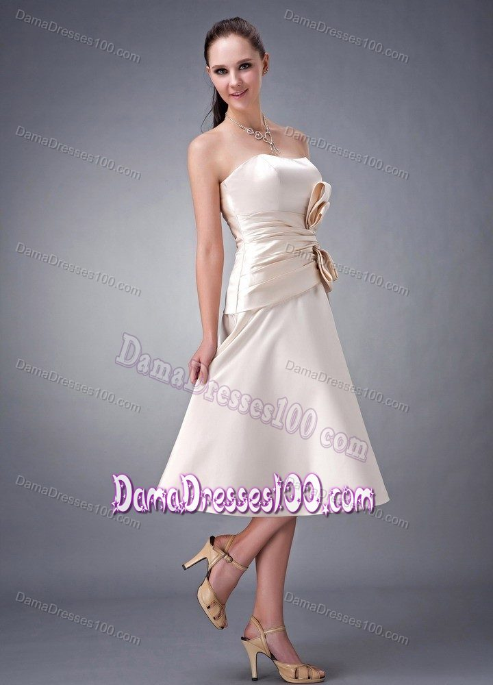 Champagne Tea Length Dama Dress For Quinceaneras With Big Bow