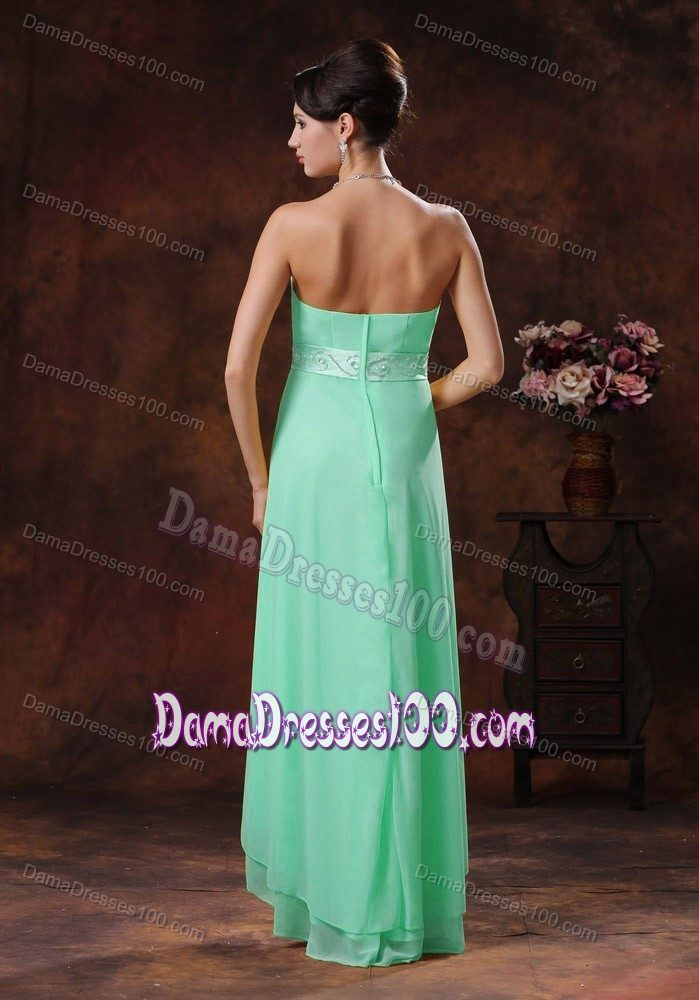 Apple Green Short at Back Long in Front Dama Quinceanera Dresses with Belt
