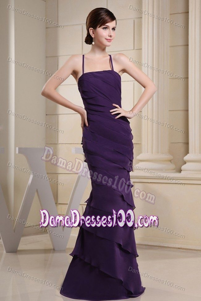 Crisscross Back Long Purple Quince Dama Dresses with Ruffles