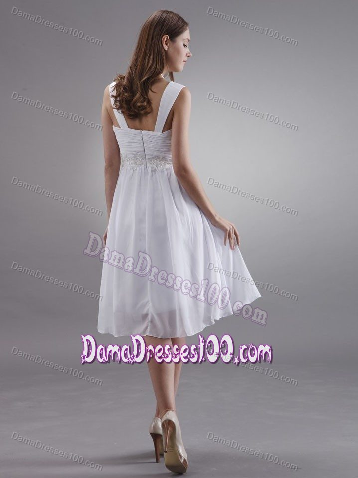 High Quality Square Neck White Short Dama Dress with Appliques
