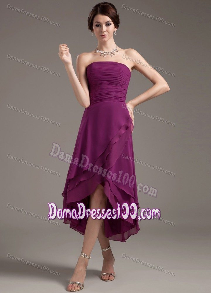 Chiffon High-low Ruched Purple Dama Dress for Quinceaneras