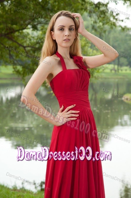 Red Halter Chiffon Ruched Dresses For Damas with Brush Train