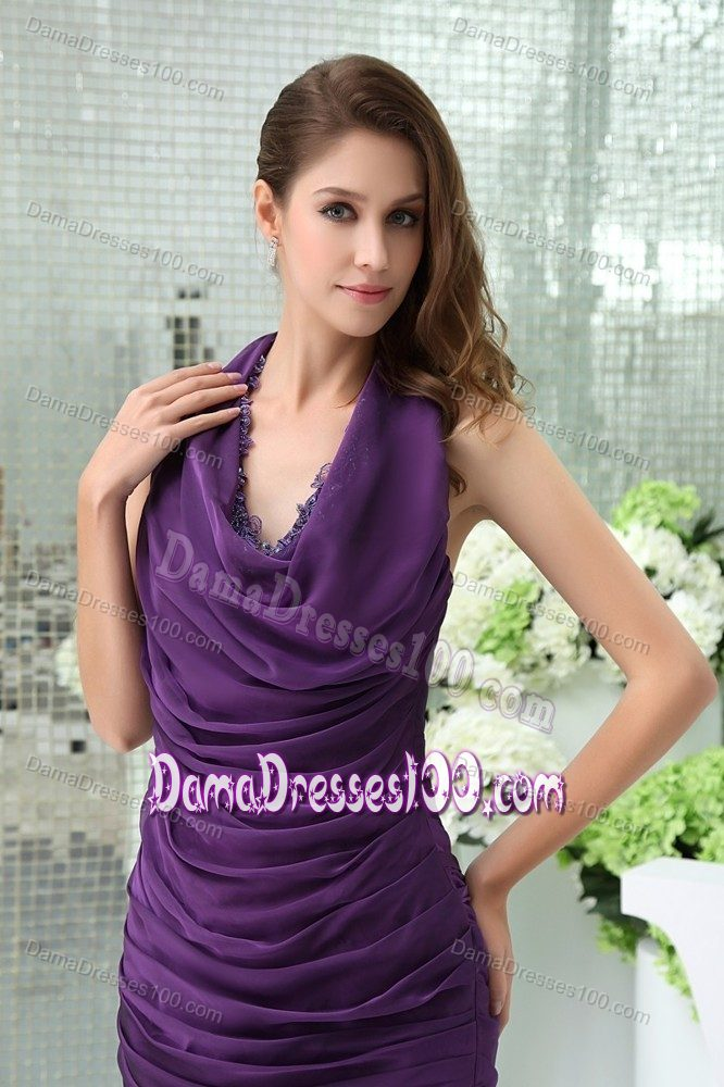 Halter Top Purple Dresses For Damas with Appliques and Ruffles