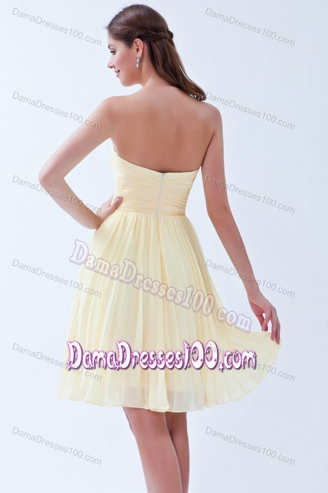 Light Yellow Sweetheart Chiffon 15 Dresses For Damas with Pleats