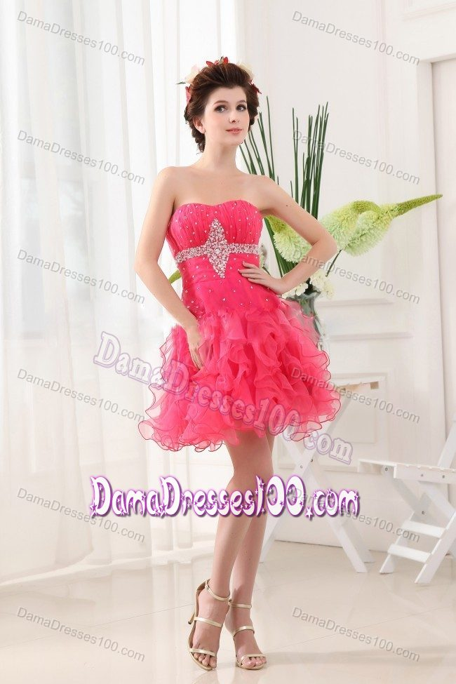 Short Beaded Hot Pink Dama Dresses with Ruffled Layers