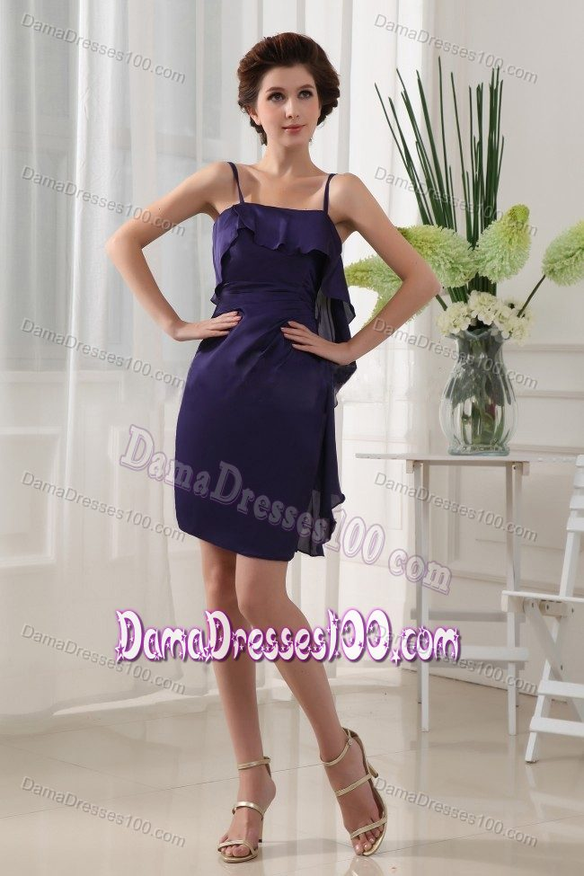 bb9bcb7b4d09 Straps Short Ruched Purple Dama Quinceanera Dresses with Ruffles