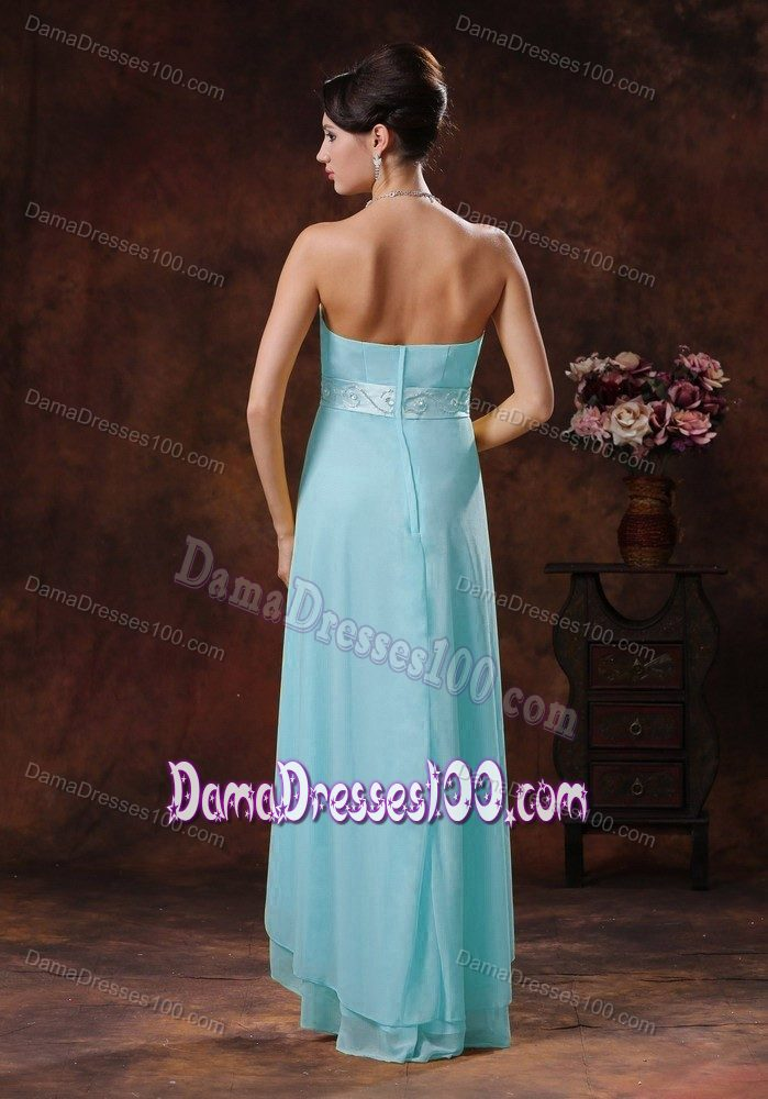 Strapless High-low Baby Blue Quinceanera Dama Dresses with Belt