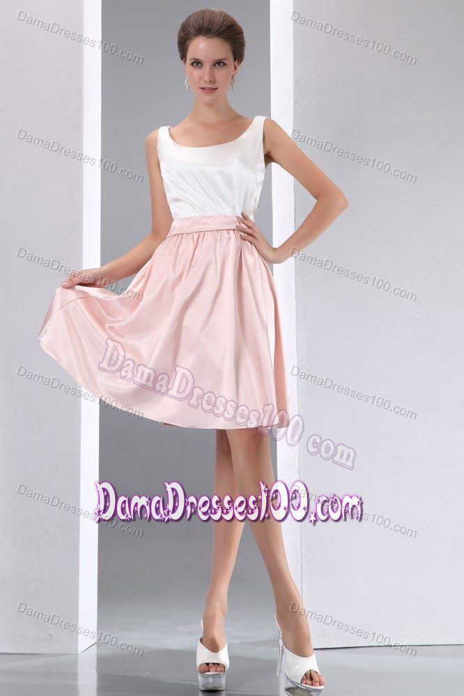 Short White and Pink Ruched Dama Dress For Quinceaneras