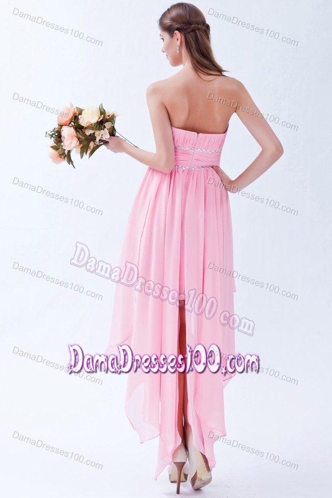 Strapless Asymmetrical Beaded Quinceanera Damas Dresses in Pink
