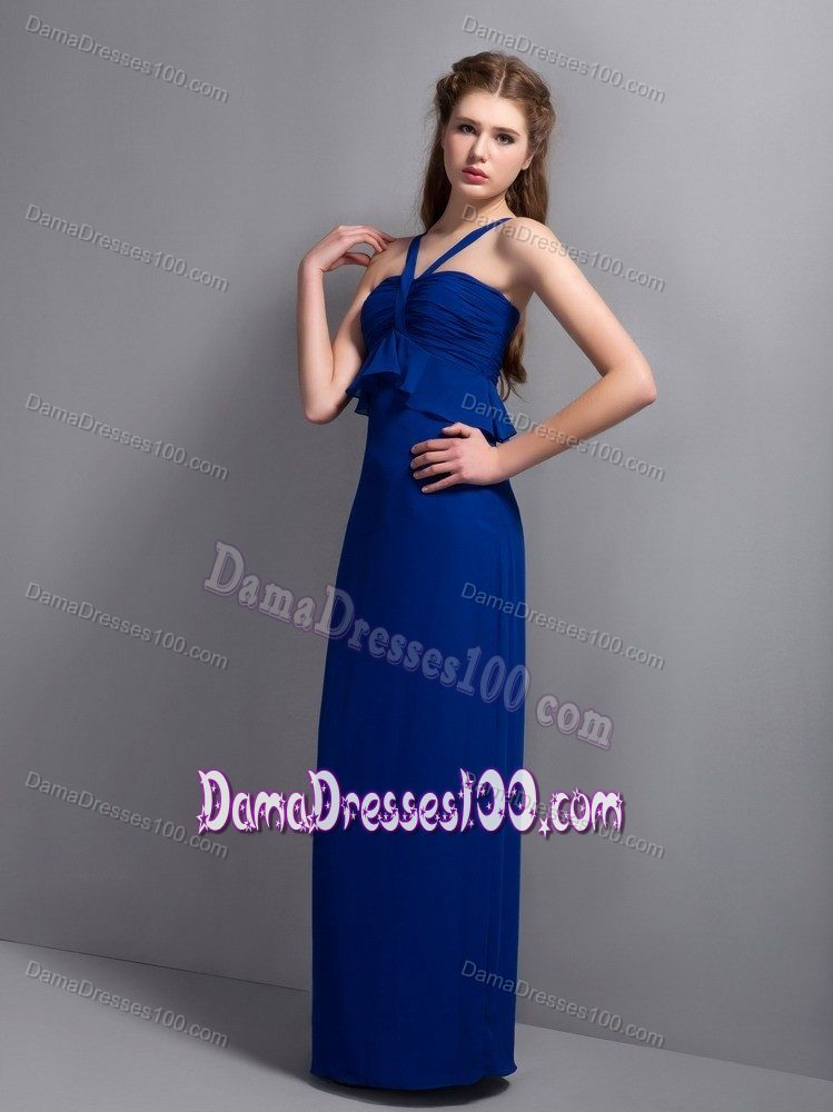 V-neck Long Ruched Peacock Blue Dama Dresses For Quinceanera