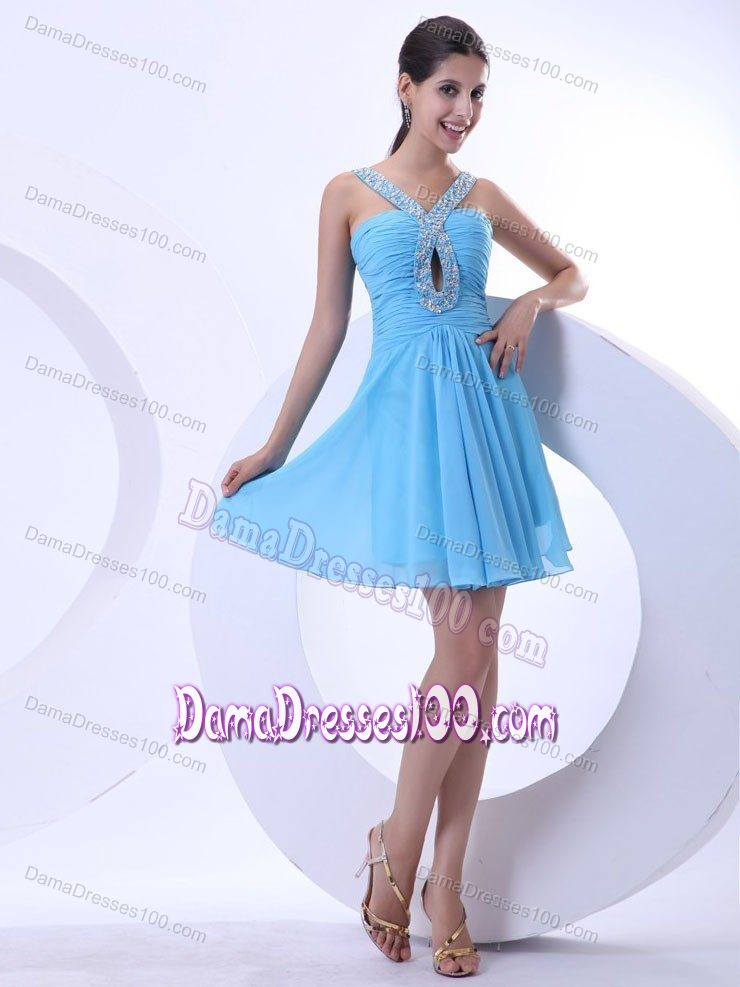 937521286f4 Chiffon Ruched Dama Dress in Aqua Blue with Beaded V-neck