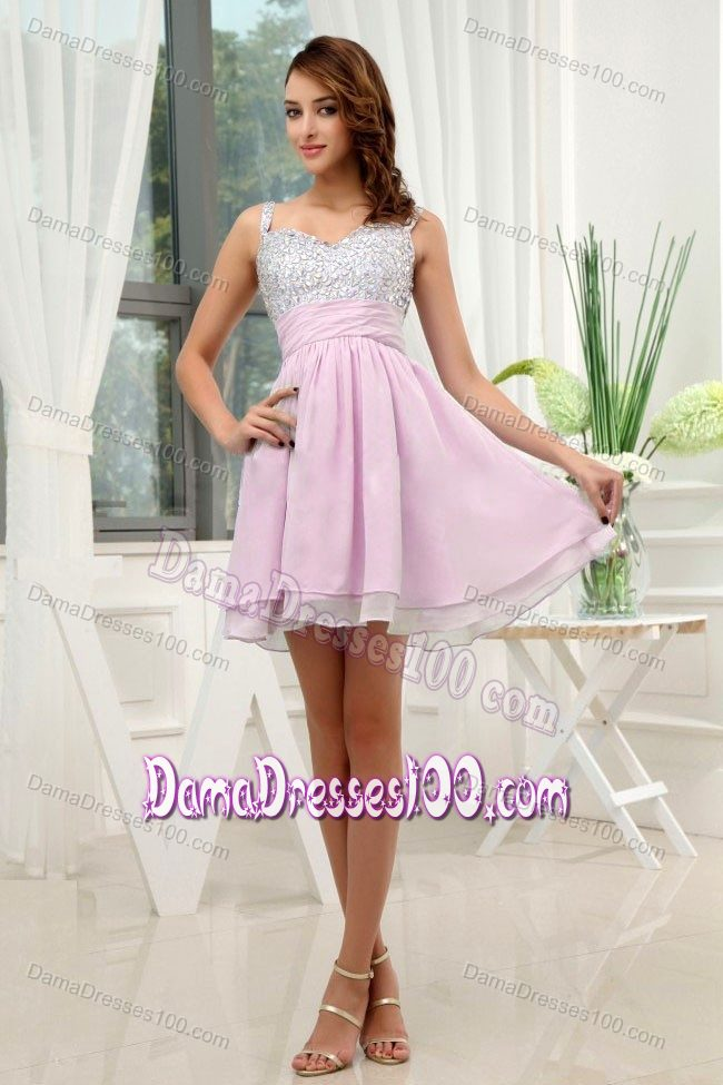 Rose Pink Beading Straps Mini-length A-Line Quince Dama Dress