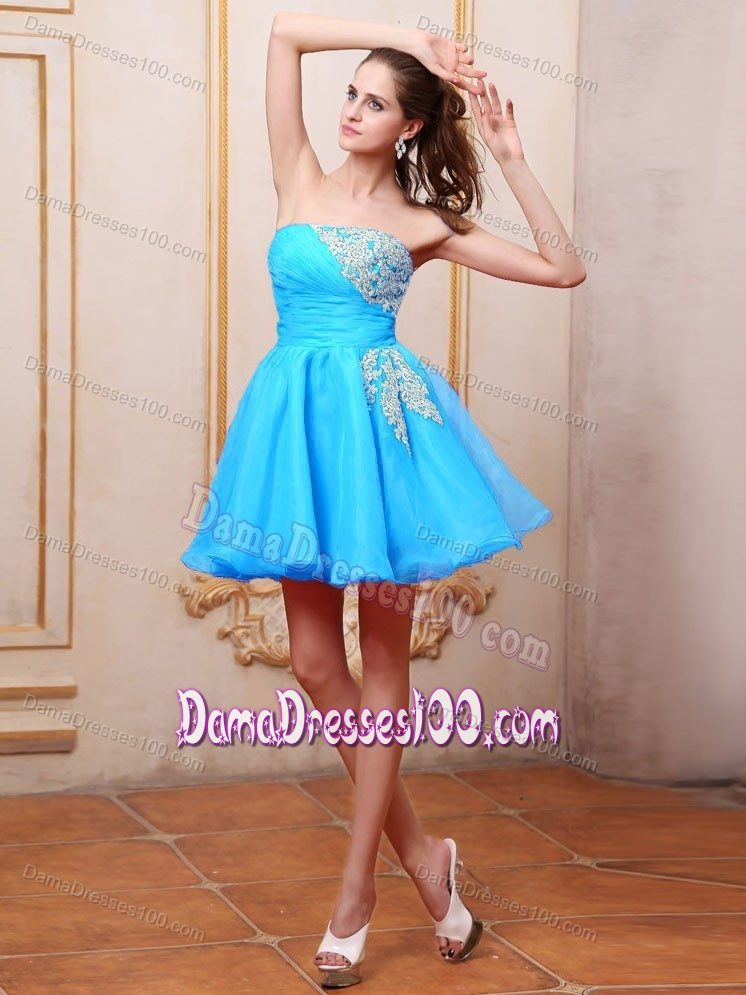 length Baby Blue Dama Dress for Quince With Appliques