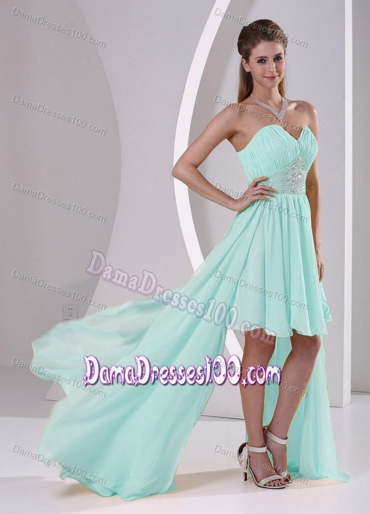 High-low Apple Green Sweetheart Quince Dama Dresses