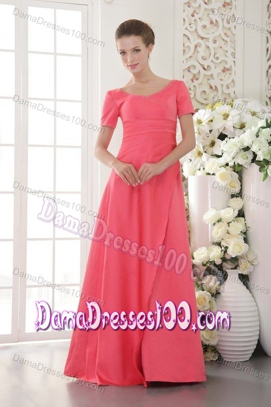 Satin Coral Red Scoop Damas Dresses for Quince with Beads