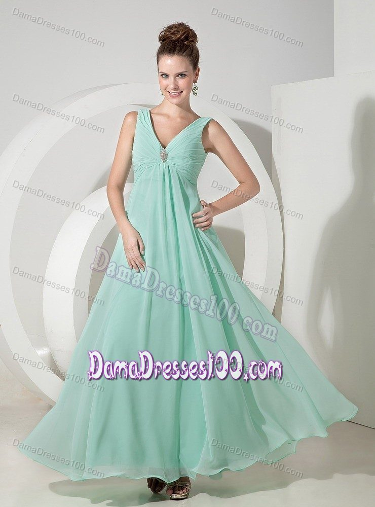 dcc4d27259d Empire V-neck Mint Color Prom Dresses For Dama with Beading