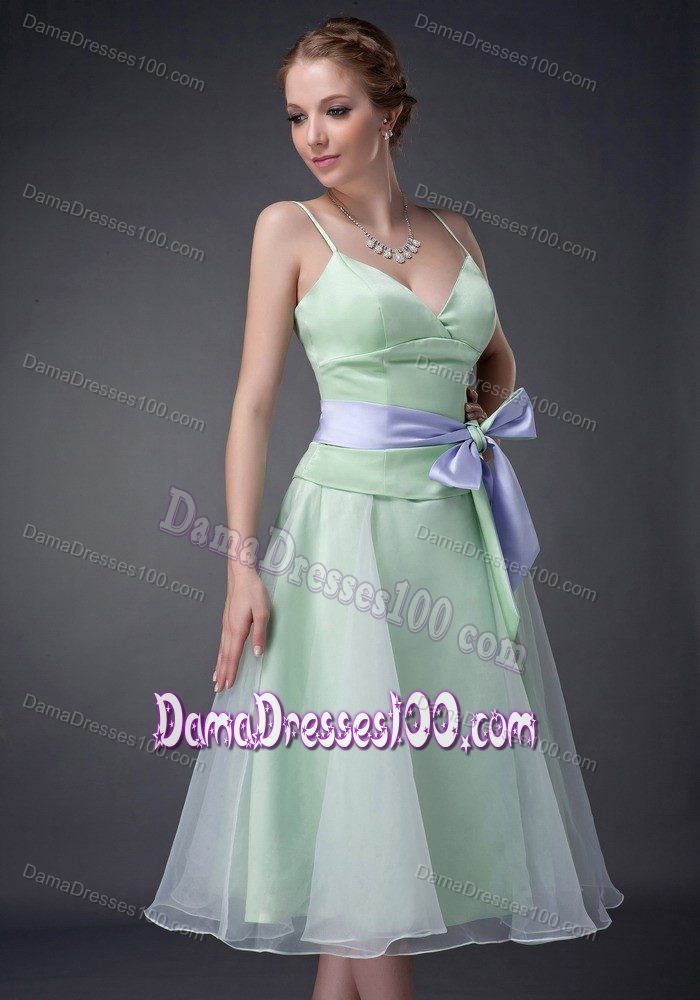 Straps Apple Green Tea-length Dresses For Damas with Bowknot