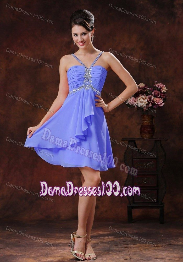 cc7e92c6f59 Beading Halter V-neck Short Dama Dresses For Quinceanera