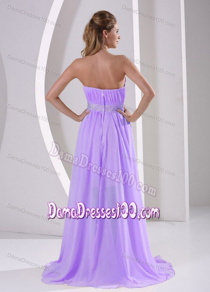 High-low Sweetheart Beaded Lilac Quinceanera Damas Dresses