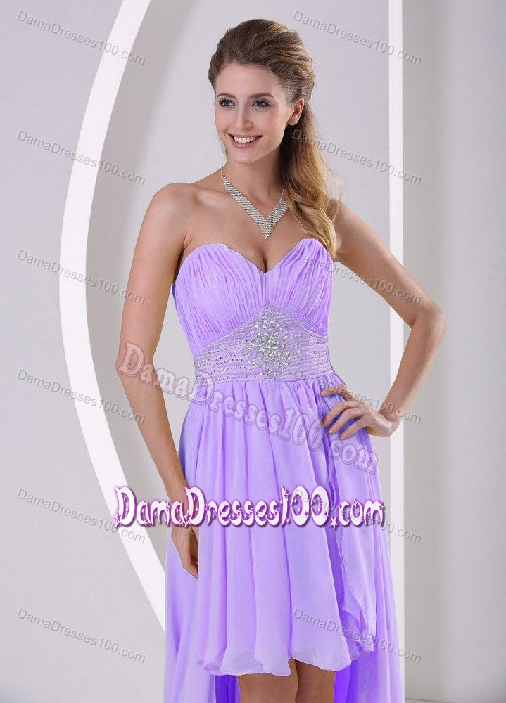 low Sweetheart Beaded Lilac Quinceanera Damas Dresses