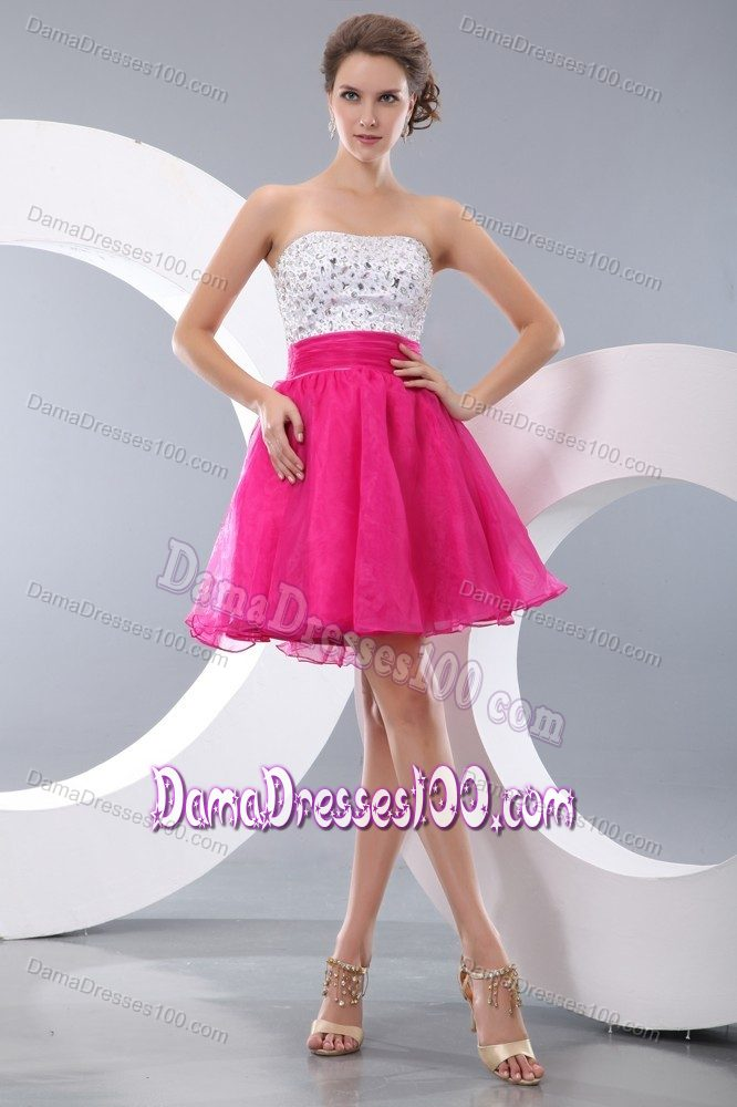 Princess Strapless Beading Short Prom Dresses For Dama Hot Pink