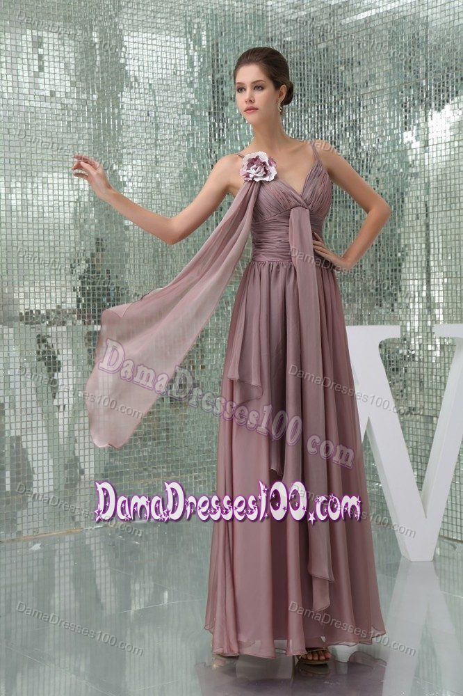 Flowers Straps Ruched Layers Burgundy Chiffon 15 Dress for Dama