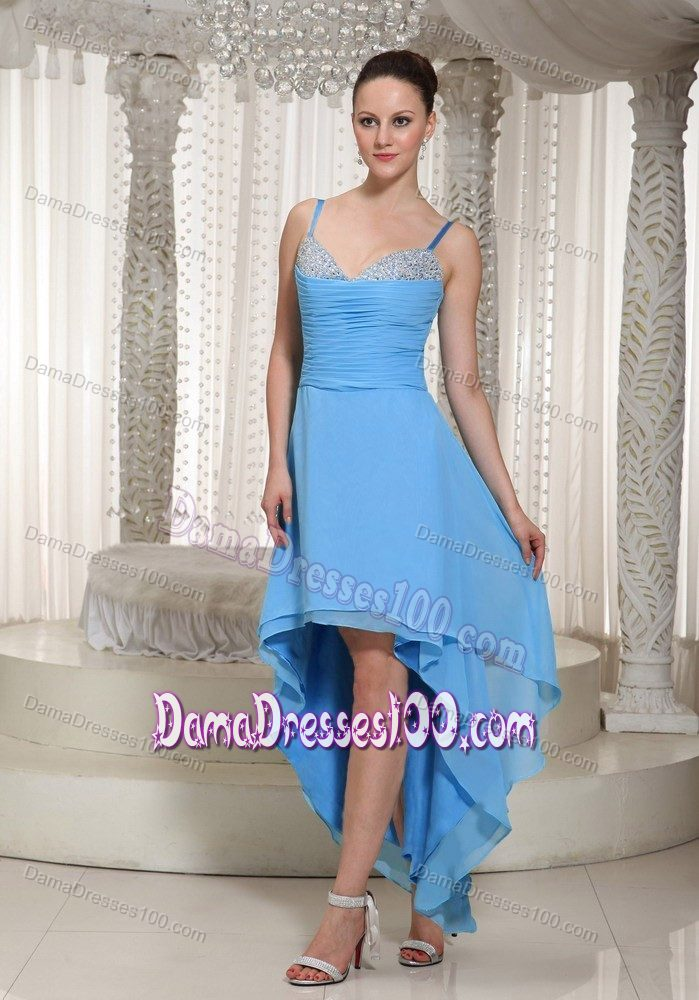 f9c5e13a6 Straps Beading Ruched Layers High-low Teal 15 Dresses for Damas