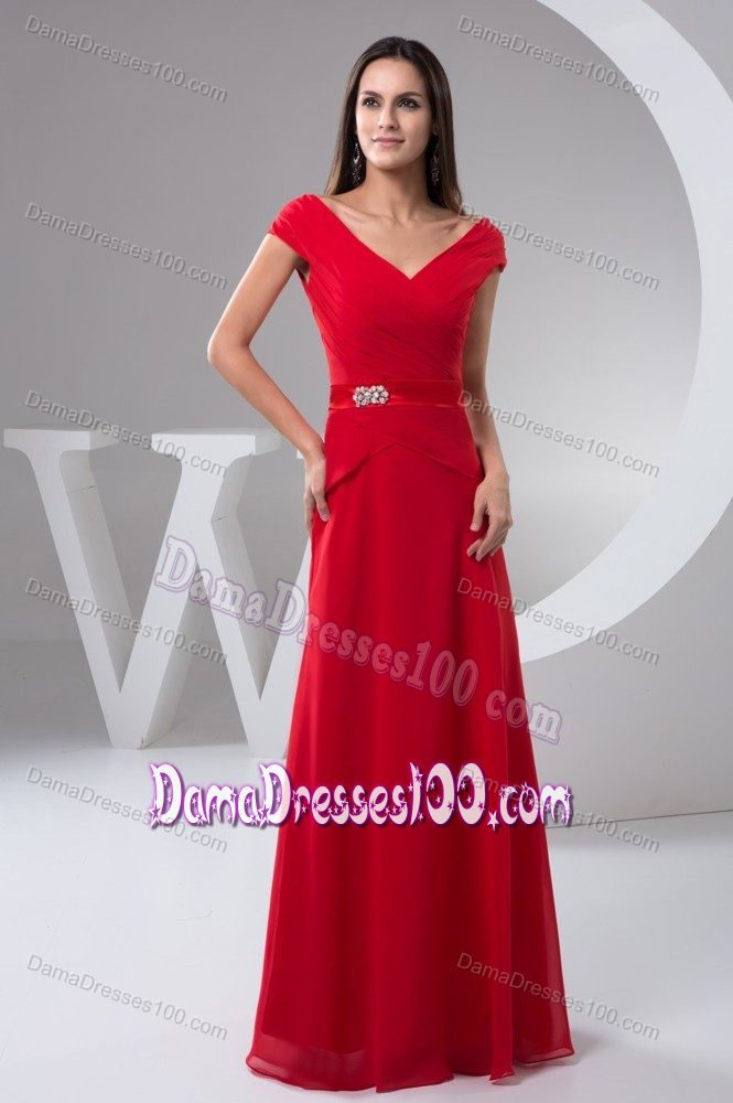 Off Shoulder Beading Ruched Red Long Dama Quinceanera Dresses