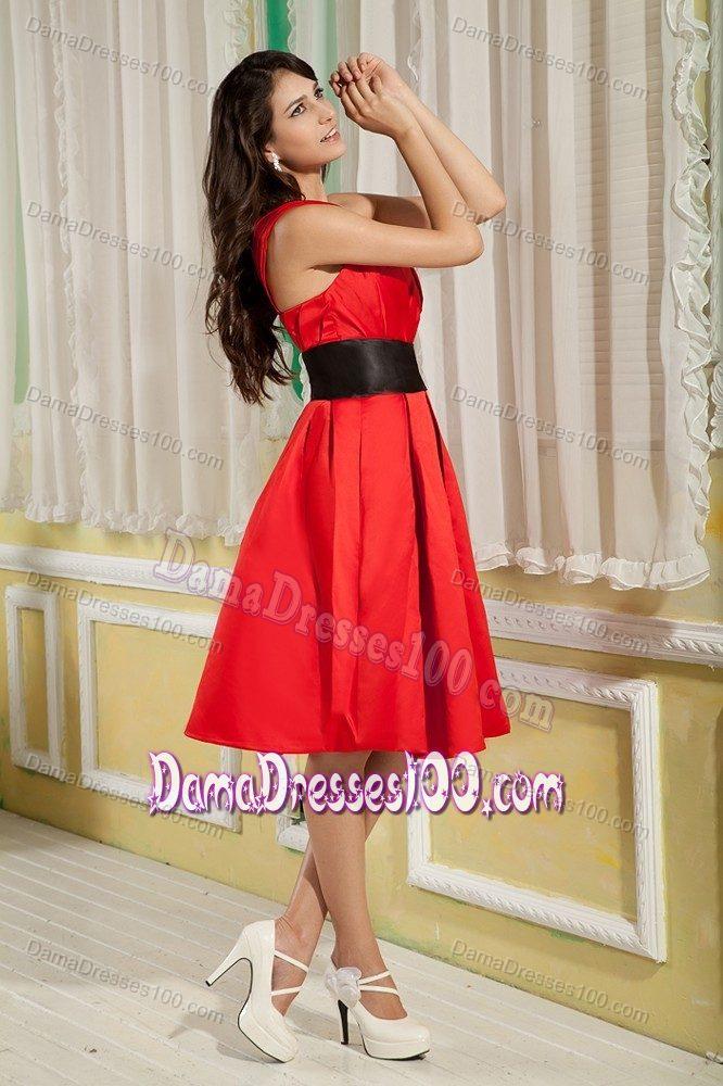 satin one shoulder ruched black sash short formal dama gowns