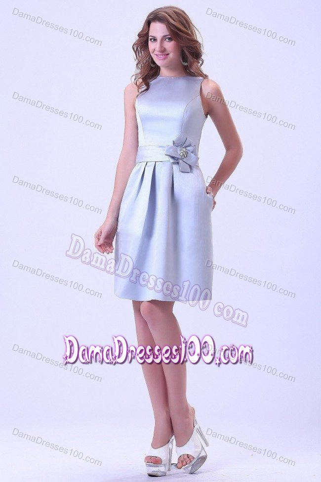 Bateau Neck Handmade Flower Silver Short Dresses for Damas
