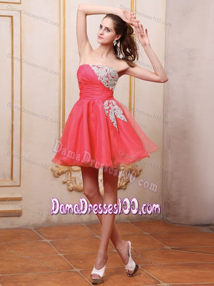 White Appliques for Coral Red Prom Dresses for Dama to Mini-length