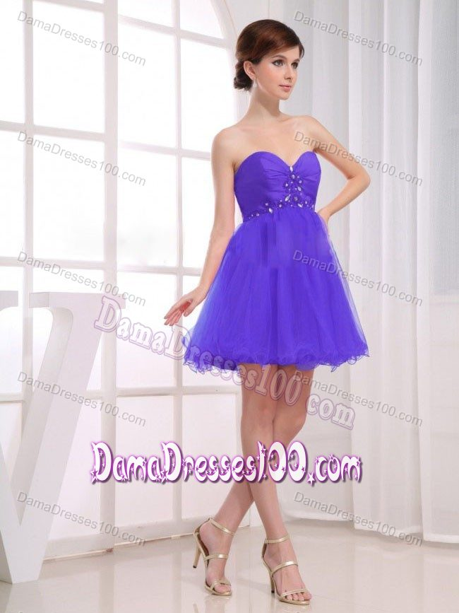 Beading Sweetheart Ruche Purple Short Dama Dress for Quinceaneras