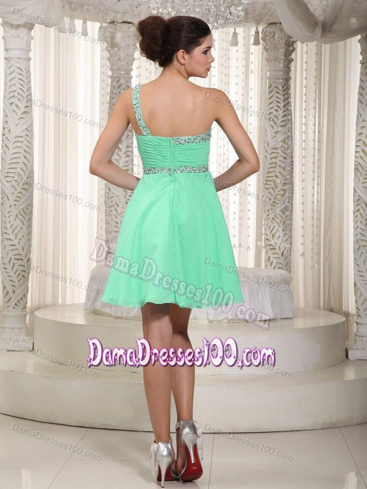 227f888ac73 Apple Green Empire One Shoulder Mini Beading Damas Dresses for Quince