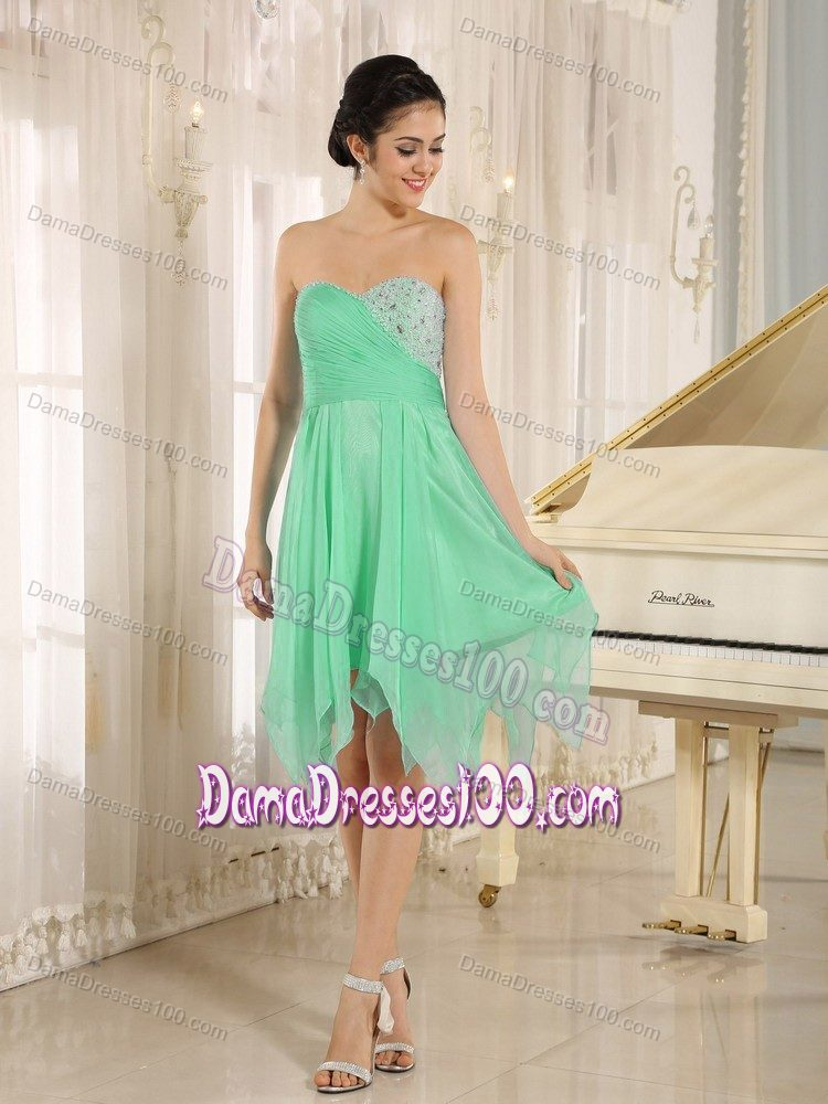 Beaded Bust Green Sweetheart Short Dama Dresses with Handkerchief