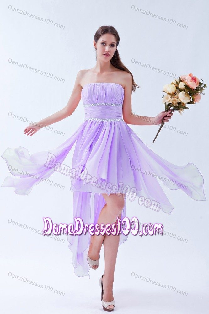 Lilac 15 Dresses for Damas Decorated with Handkerchief and Beading Sash