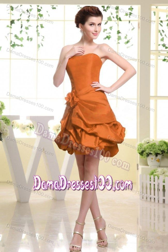 Hand Made Flower Rust Red Formal Dresses for Dama With Pick-ups