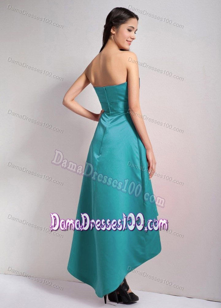 0a198e374b4 High-low A-line Strapless Teal 15 Dresses for Damas with Appliques