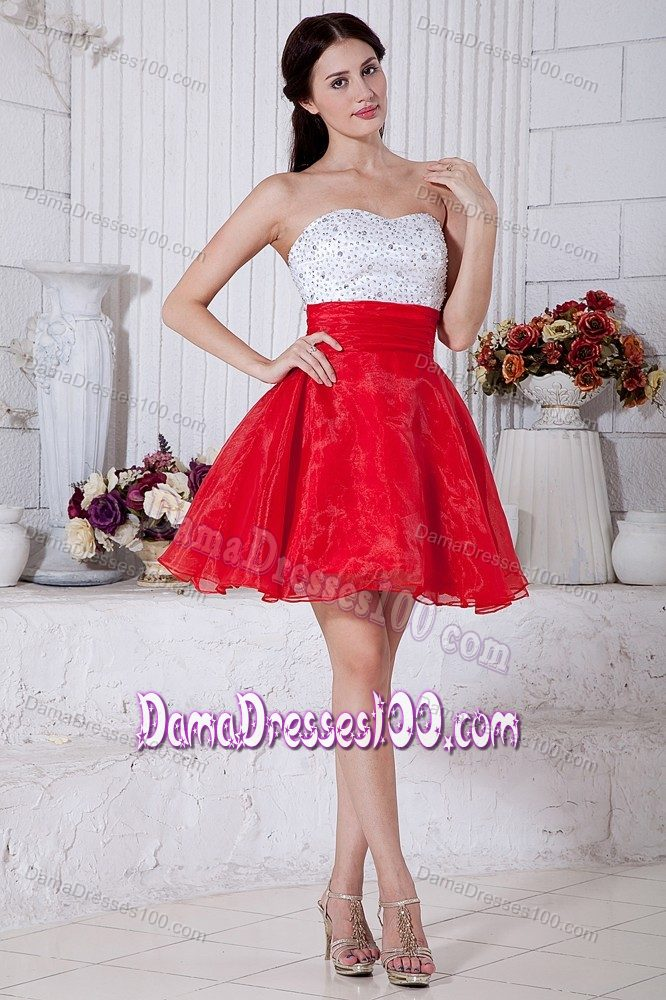 White and Red Puffy Short 15 Dresses for Damas with Beading