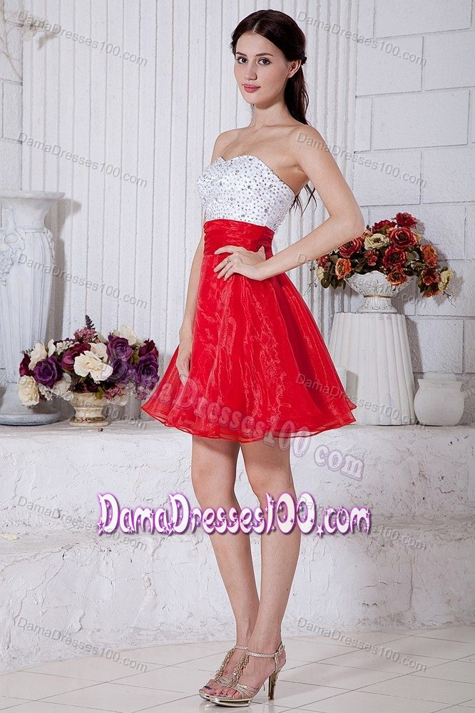 4af29121c5c White and Red Puffy Short 15 Dresses for Damas with Beading