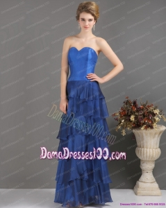 2015 Blue Sweetheart Dama Dresses with Ruffled Layers