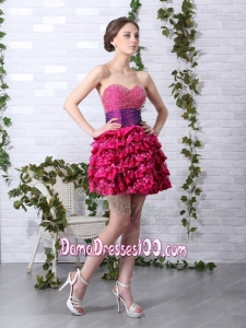 2015 Cute Ruffled Layers Sweetheart Beading Dama Dresses for 2015